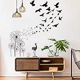 Stickers Muraux Pissenlit et Oiseau, MOCOLOM Amovible Fleurs Avaler Grand Autocollants Murale Décoratif Wall Stickers, Décora