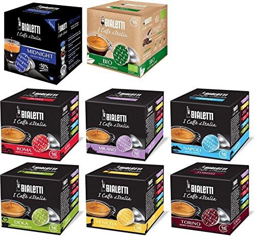 Bialetti: Aluminium 128Kaffee Kapseln sortiert mit neuen Midnight Geschmack. 8Stück für 16Kapseln [Italienische Import]