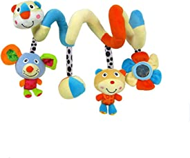 TOYMYTOY Spiral Toys,Stroller Toys, Crib Hanging Car Seat Toy with Ringing Bell