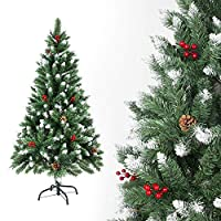 Azadx Artificial Christmas Tree, 5ft Indoor Xmas Decoration Plastic Tree Decoration Iron Bracket Christmas Tree with Pine Cone Red Fruit Snow for Home Festival Decoration (Green With Snow, 1.5m / 5ft)