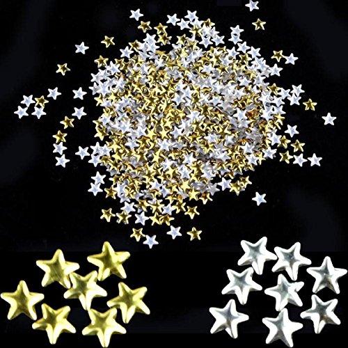 FEITONG Nail Art 250 pezzi d'oro Argento 5 millimetri Stelle Metal Studs per unghie decorazione del telefono