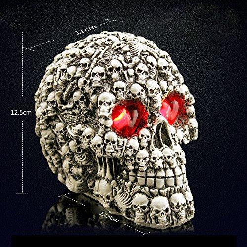 ZHENWOFC Halloween Menschlichen Prop Harz Schädel LED Nachtlichter Dekorative Neuheit Pranksters Halloween Liefert Innenlicht (Color : 3)