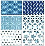 Best Geschenkpapier Grüße 48Stück alle Anlass sortiert blanko Note cards Grußkarte Bulk Box Set-Shades of blau floral Blattwerk Designs-Aufstellkarten mit Umschläge enthalten 10,2x 15,2cm