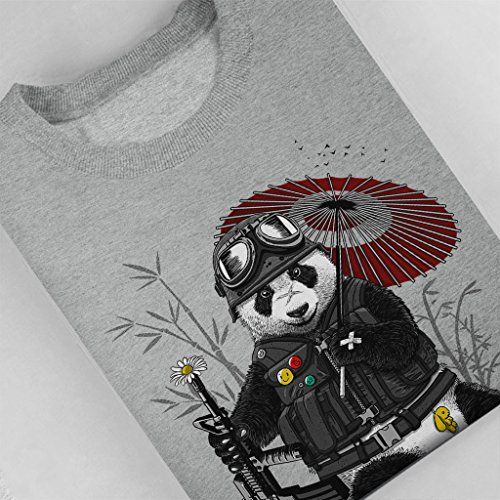 Panda Militar Womens Sweatshirt Heather Grey