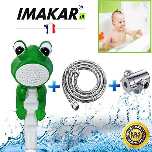 IMAKAR® Douchette enfant - KIT COMPLET - avec Adaptateur et Flexible de douche en acier inoxydable. Ce pommeau de douche enfant est la meilleure solution pour une douche Facile & pratique de votre enfant. (GRENOUILLE)