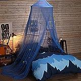 Chlove Mückennetz Sommer Rund Blau Fliegennetz Insektennetz Fliegengitter Insekten Schutz Vorhang für Schlafzimmer Kindzimmer