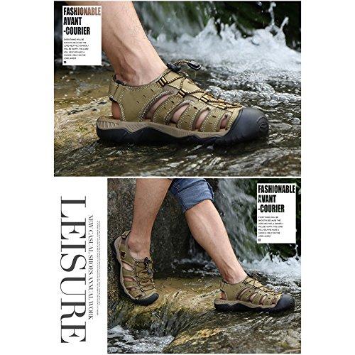 GOMNEAR Herren Leder Strand Sandalen Closed-Toe Trekking und Gehen Draussen Sport Schuhe Khaki