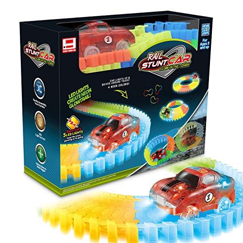 Spielzeug Race Cars (Mibote Rennbahn mit LED Race Cars Autorennbahn Spielzeug 223 Stück Flexible Variable Track Set Glow in der Nacht Glühend Autobahn Weihnachtsgeschenk für Kinder)