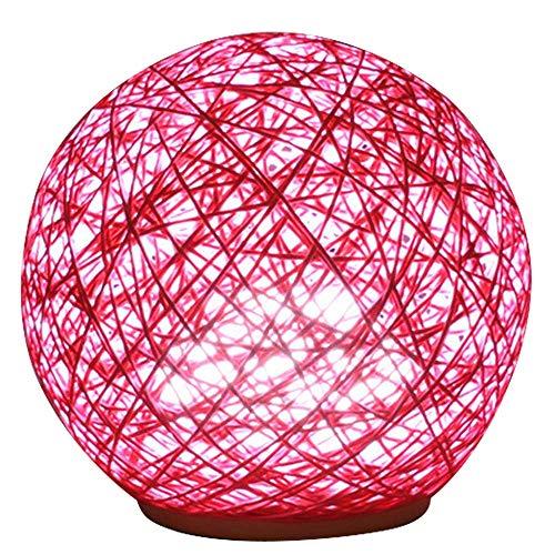 XXIONG USB-Aufladung 7 Farben Fernbedienung nachtlicht Rattan Ball schreibtischlampe Dekoration lampen nachttischlampe,Rosa