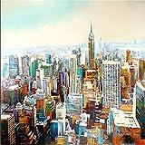 Kunst & Ambiente - Manhattan - Wandbild - Skyline - Martin Klein - Skyline Bild Gemalt - New York Leinwand - Stadtbild - New York Gemälde