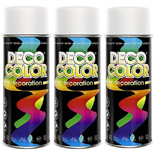3er Sparpack DC Lackspray glänzend 400ml nach RAL freie Farbauswahl (3 Dosen in weiss matt RAL 9010)