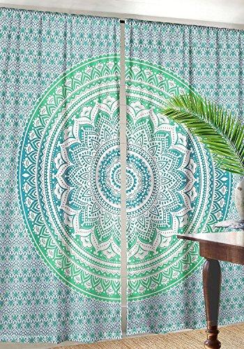 Sophia Art indischen Ombre Mandala Hippie Vorhänge Bohemian Psychedelic Fenster Vorhang Drape indische Handarbeit Vorhang Panel grün - Vorhang Rod Grüne