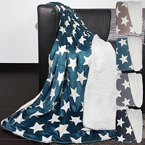 proheim Wendedecke mit Sternen superweiche Kuscheldecke Wohndecke mit glänzender Vorderseite und wärmenden Rückseite Tagesdecke Größe und Farbe wählbar, Farbe:Petrol, Größe:200 x 240 cm