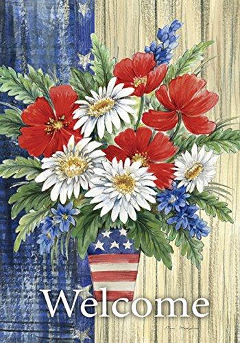 Toland Home Garden Patriotisches Blumenstrauß 28x101,6 cm Dekorative Sommerblume Willkommen rustikale Sterne Streifen Haus Flagge