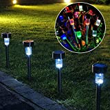 New 10pcs Stainless Steel Solar Energy Lawn LED Lamp Outdoor Lighting Multicolour