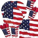 48-teiliges Party-Set USA - Amerikanische Flagge - Teller Becher Servietten für 16 Personen
