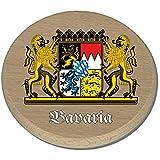 Bierglasdeckel Bierdeckel Glasabdeckung Trinkglasdeckel bedruckt anstelle Gravur - Trinkglasdeckel aus Buchenholz 10cm Durchmesser - mit hochwertigem farbigen Aufdruck - für Gläser mit einer Öffnung von 5,5cm und größer - Bayern Bavaria Wappen
