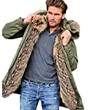Aofur Herren Winter Slim Fit Winter Parka mit Fell-Imitat Jacke Mantel Lange Windbreaker Jacken Hoodies Sweatshirts Pullover S-XXXL (X-Large, Grün)