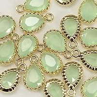 4pezzi di verde menta chiaro a goccia Briolette Perline connettori Bazel vetro con ciondoli perline su ottone placcato oro 16K, connettori per orecchini risultati, collana, gioielli forniture–Annielov FG-15