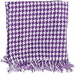 Homescapes mano coperta a costine copridivano viola bianco Pattern Houndstooth Plaid 100% puro cotone ueberwurfdecke con frange, Misto cotone 100% cotone Cotone egiziano Cotone Microfibra, Rot, 140 x 200 cm