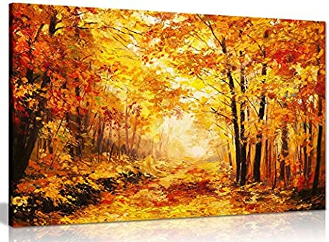 Abstract Vivid Oil Painting Colourful Orange Yellow Autumn Forest Leaves Canvas Wall Art Picture Print