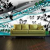 Fototapete Schmetterling Ranken Grün Vlies Tapete Wandtapete XL 350 x 245 cm - 7 Teile - Vlies - Tapete - Moderne Wanddeko - Wandbilder - Fotogeschenke - Wand Dekoration wandmotiv24 Größe:
