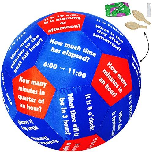 alles-meine.de GmbH XL - Lernspielball -  Uhrzeit & Zeit / Uhr - Tage & Wochentage - Englisch !  - Ø 40 cm - Lernspiel Ball - Lernen & Üben & Kennenlernen - Lernball - Kinder /..
