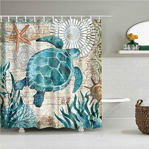 YONG-SHENG Turtle Print Polyester Gewebe Duschvorhang Wasserdicht und Mildewproof Digital Gedruckt Wohnaccessoires Eingestellt mit Haken 180cm x 180cm (Style 9)