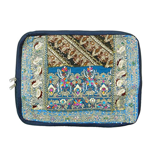 Ethnische handgemachte Gestickte Perlen Barren Laptop Bag Banjara Patchwork-Kasten Mehrfarben-8