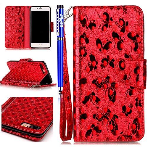 Custodia per iPhone 7 Plus/iPhone 8 Plus (5.5), EUWLY Alta Qualità Portafoglio Custodia in PU Pelle per [iPhone 7 Plus/iPhone 8 Plus (5.5)] Retro Bello Bling Glitter Farfalla Modello Design Custodia Glitter Farfalla,Rosso