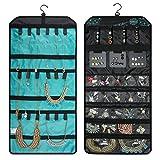 BAGSMART Doppelseitiger Schmuckorganizer zum Aufhängen für Ohrringe, Halsketten, Ringe, Blau