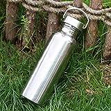 Goldyqin Voller Edelstahl Wasserflasche Wassertasse Auslaufsicheres Glas Sportflasche Für Yoga Radfahren Reiten Camping Wandern Reisen - Silber - 750ml