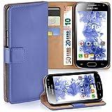 moex Samsung Galaxy Ace 2 | Hülle Hell-Blau mit Karten-Fach 360° Book Klapp-Hülle Handytasche Kunst-Leder Handyhülle für Samsung Galaxy Ace 2 Case Flip Cover Schutzhülle Tasche