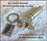 KGS Timeless Memorials Deluxe Rainbow Bridge Pet Cremación Personal Cenizas Llorando urna Llavero, Bolsa de...