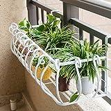 Blumenregale, Eisen Europäischer Stil Balkon Geländer Zaun Wohnzimmer Innen Wand hängen hängen Blumentopf Rack Blume Regal Amerikanischer Blumenständer (Farbe : Weiß, größe : 100*28*20cm)