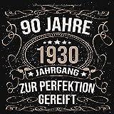 90 Jahre Jahrgang 1930 zur Perfektion gereift: Geschenk zum 90. Geburtstag Geschenk Geburtstagsparty Gästebuch Eintragen von Wünschen / Design: Luftschlangen Schwarz Gold