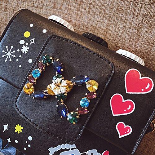 Borsa Femmina Autunno E Inverno Nuovo Creativo Punte Stampa Mini Borsa Quadrata Piccola Versione Coreana Spalla Borsa Del Messaggero Black