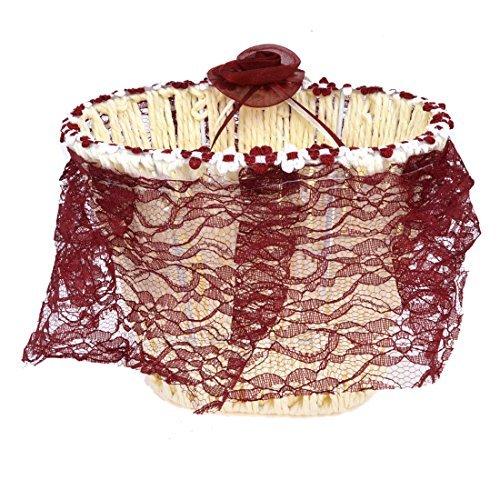 Handgefertigte Metallrahmen Schnürschuhe Woven Blumen Fruit Speicher-Korb Beige -