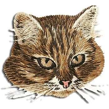 3,8 cm Bügelbild Katze 9 cm schwarz weiß Katzen Kater Haustier Tier Aufnäher