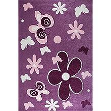 Alfombra en rosa y morado muy mullida con flores y mariposas contorno cortado a mano, para la habitación infantil, Maße:80x150 cm