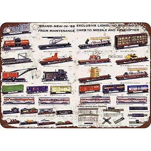 1959Lionel Trains materiale rotabile Look Vintage Riproduzione in metallo Tin Sign 20,3x