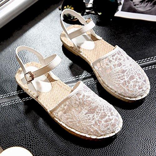 COOLCEPT Femmes Mode Cheville Sandales Bout Ferme Boucle Chaussures Blanc