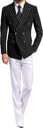 YYI Men'sBlazer Suit Blazer Stripe Double Breasted Formal Dinner Suit Jacket