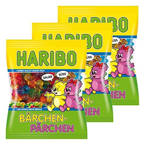 Haribo Bärchen-Pärchen, 3er Pack, Gummibärchen, Weingummi, Fruchtgummi, Im Beutel, Tüte