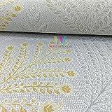 Grandeco Rowan Blume Blatt Muster Tapete Glitzer Motiv Geprägt - Grau Gelb A23304