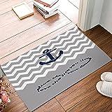 Personalisierte Fußmatten Love Infinity Forever Love Symbol Chevron Muster Mit Maritim Anker Fußmatte Gerippter Innen Outdoor Teppich für Eingang Teppich Vorderseite Matten Anti-Rutsch-Matten Low-Profile 15,7x 59,9cm