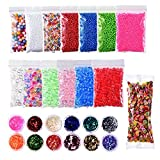 26-teiligesWasserperlen-Set, enthält: Wasserperlen in 6 Farben mit 7Beuteln, Schaumstoff-Bälle und Fruchtscheiben, mit Glitzer in 12Farben, zum Basteln und Spielen