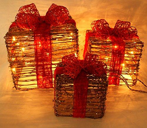 3Stück erleuchtet Rattan Geschenk Boxen Weihnachten Yard Art Dekoration US-Stecker ()