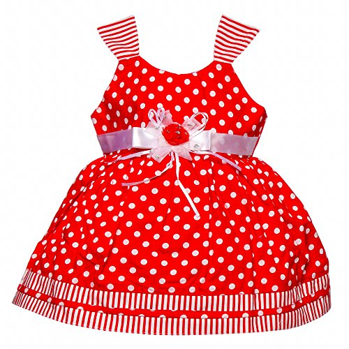 Littly Baby Girl's Party Wear Polka Print Cotton Frock Dress With Panty (Red,18 Months-24 Months)