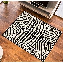 Alfombra De Salón Y Pasillo Moderna – Color Negro Crema De Diseño Piel De Animales – Suave – Fácil De Limpiar – Top Precio – Diferentes Dimensiones S-XXXL 70 x 130 cm